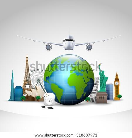 Travel of the world  background - stock photo