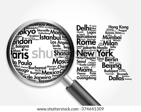 TRAVEL.OK Word collage, different world city names with magnifying glass, travel business concept