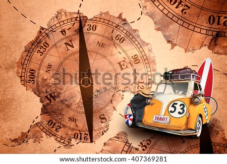 travel, old car toy vintage on map background - stock photo