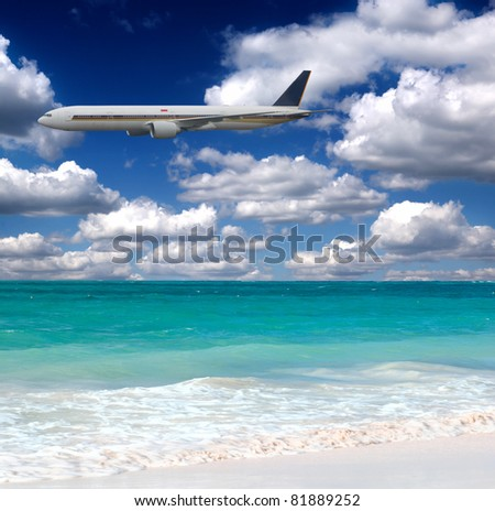 Travel on rest. By the plane - stock photo