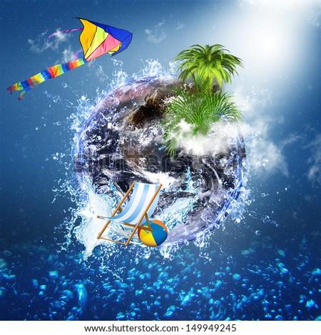 Travel or beach compilation symbolizing traveling around the world - stock photo