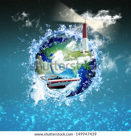 Travel or boating compilation showing a speed boat and a lightho - stock photo