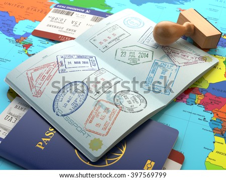 Travel or turism concept. Opened passport with visa stamps with airline boarding pass tickets and stamper on the world map. 3d - stock photo