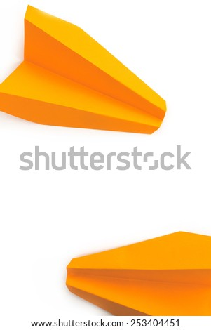 Travel. Paper airplanes on a white background - stock photo