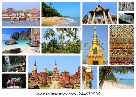 Travel photo collage from Thailand. Collage includes major landmarks like Bangkok, Ayutthaya, tropical beaches and Maya Bay. - stock photo