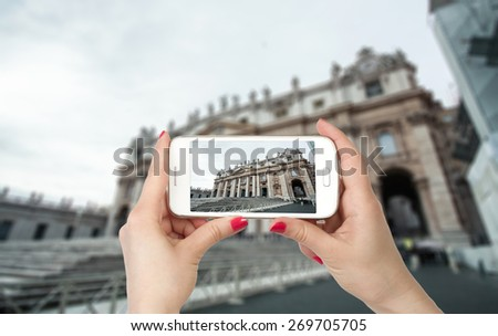 Travel photo on the phone. Basilica di San Pietro, Vatican, Rome, Italy - stock photo