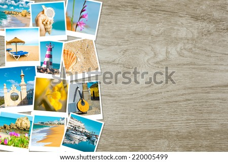 Travel photographs from Portugal on wooden background, text space - stock photo