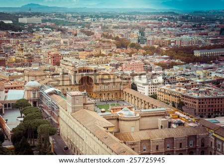Travel Photography: Cityscape View on the Vatican Museum of Rome. Italy