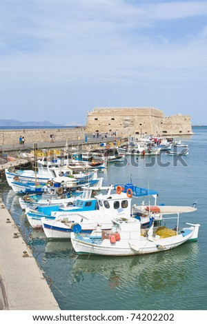 Travel photography: Fishing boats. Port of Heraklion, Crete, Greece - stock photo