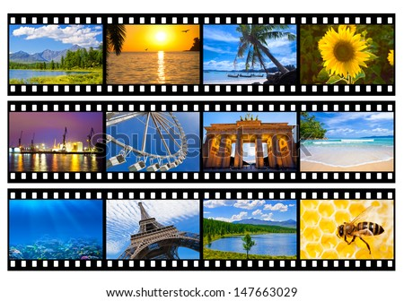 Travel photos or pictures film strip isolated on white - stock photo