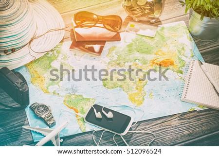 travel planning map tourism traveler plan holiday lay desk flat tourist booking journey pointing plane trip