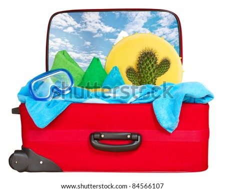 Travel red suitcase. Packed for summer vacation in sea resort. Tropical beach. Isolated on white - stock photo