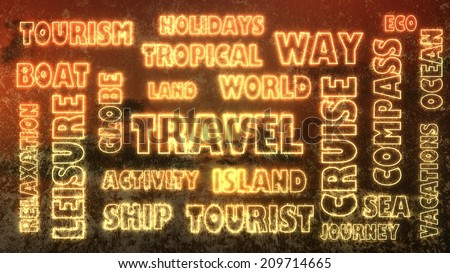 travel related tags cloud on abstract backdrop - stock photo
