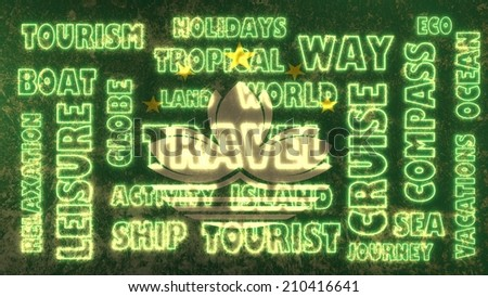 travel related tags cloud on macau national flag - stock photo