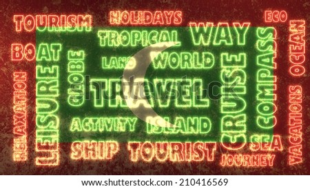 travel related tags cloud on maldives national flag - stock photo
