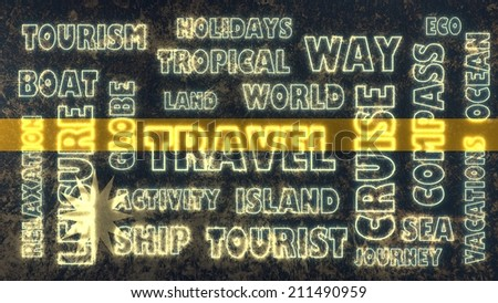 travel related tags cloud on nauru national flag - stock photo