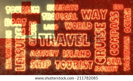 travel related tags cloud on tonga national flag - stock photo