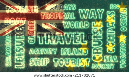 travel related tags cloud on tuvalu national flag - stock photo