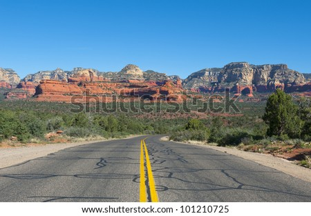 Travel road from Flagstaff to Sedona Arizona. - stock photo