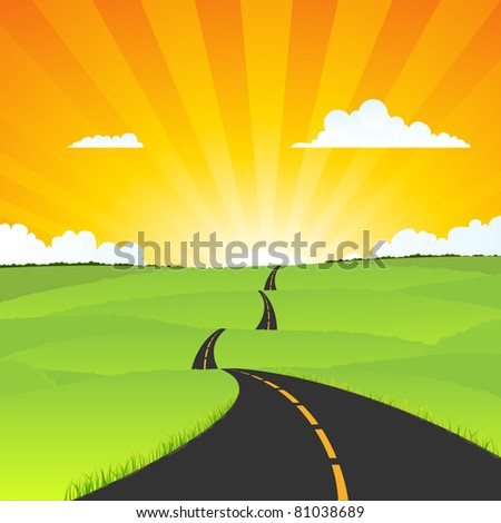 Travel Road Landscape/ Illustration of a cartoon travel road going towards eternity - stock photo