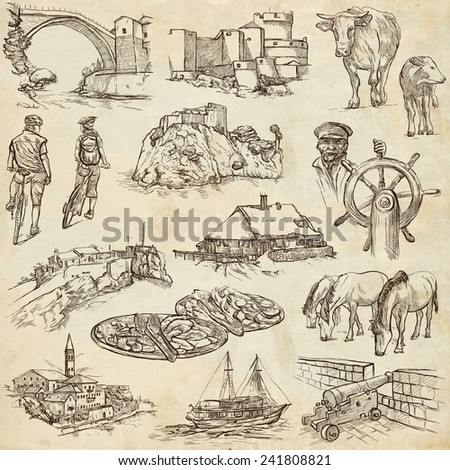 Travel series: Former Republics of YUGOSLAVIA - Collection of an hand drawn illustrations (pack no.1). Description: Full sized hand drawn illustrations drawing on old paper. - stock photo