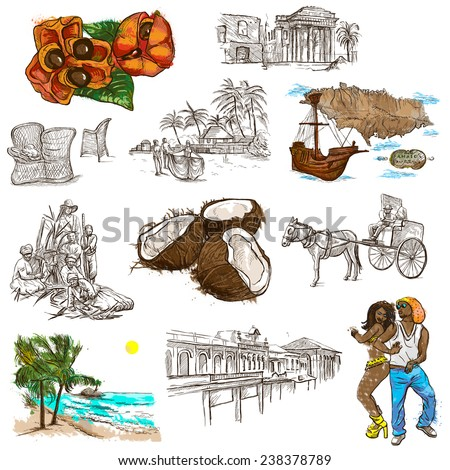 Travel series: JAMAICA - Collection (no.5) of an hand drawn illustrations. Description: Full sized hand drawn illustrations drawing on white background. - stock photo