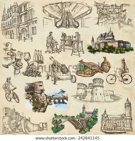 Travel series: LUXEMBOURG (pack no.2) - Collection of an hand drawn illustrations. Description: Full sized hand drawn illustrations drawing on white background. - stock photo