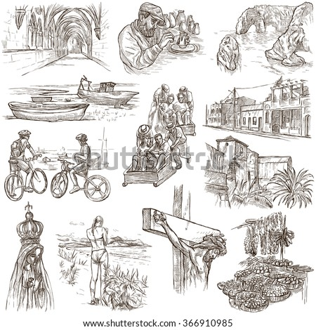 Travel series, PORTUGAL - Pictures of Life. Collection of an hand drawn illustrations. Description, Full sized hand drawn illustrations (freehand sketches). Drawing on white background. - stock photo