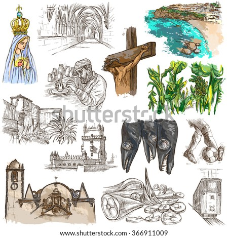 Travel series, PORTUGAL - Pictures of Life. Collection of an hand drawn illustrations. Description, Full sized hand drawn illustrations (freehand sketches). Drawing on white background.