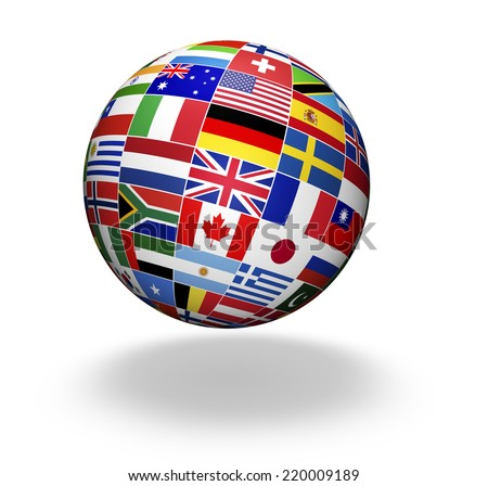 Travel, services, marketing and international business management concept with a globe and international flags of the world, illustration on white background. - stock photo
