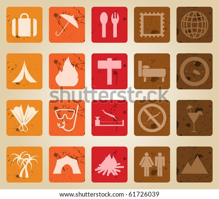 Travel set of different web icons. Retro style.