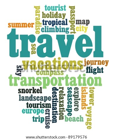 travel sickness info-text graphics and arrangement word clouds concept - stock photo