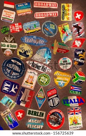 Travel stickers on the leather texture - stock photo