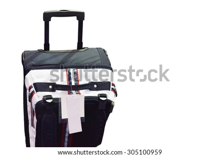 Travel suitcase handle and label elegant vacation bag for tourism travel. Tag with information on baggage Object isolated on white background. This has clipping path.  - stock photo
