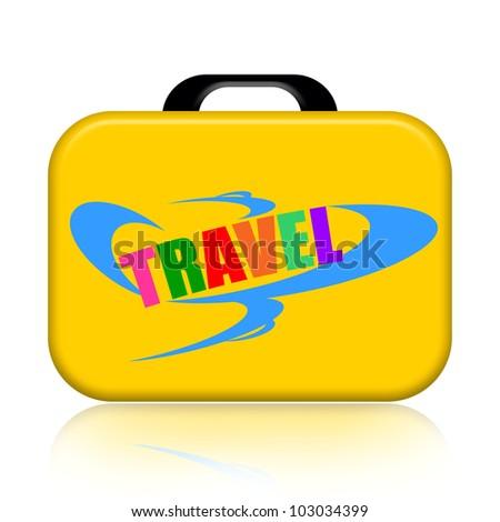 Travel suitcase isolated over white background - stock photo