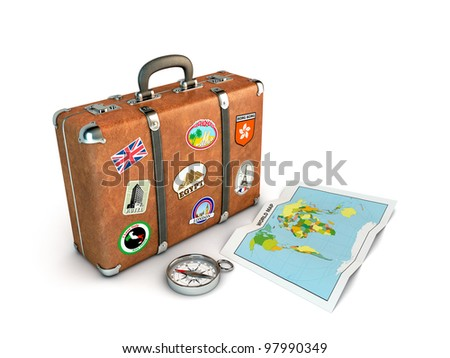 Travel Suitcase with compass and world map. Computer generated image. - stock photo