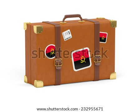 Travel suitcase with flag of angola isolated on white - stock photo