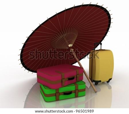Travel suitcases and umbrella  on white background. - stock photo