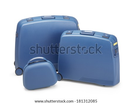 Travel suitcases set on white background.Clipping path - stock photo