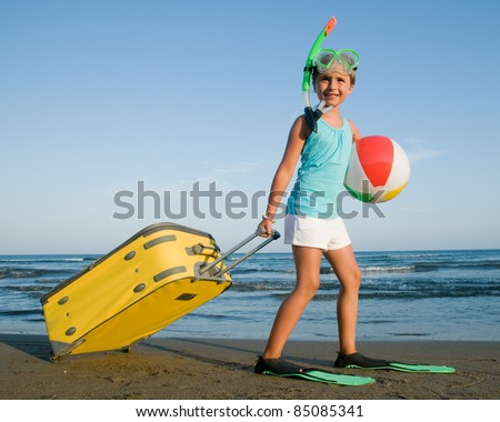 Travel, summer vacation - direction summer resort ( space for text) - stock photo