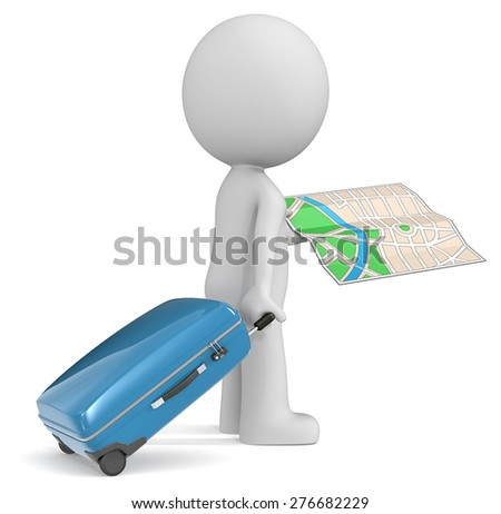 Travel. The dude 3D character holding modern suitcase and city map. - stock photo