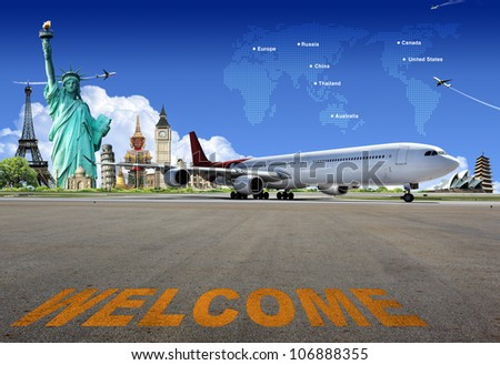 Travel the world by airplane, concept - stock photo