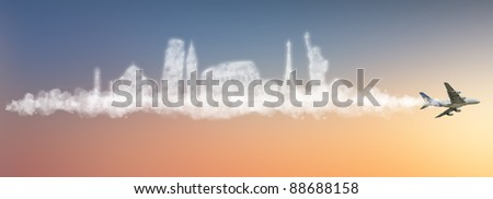Travel the world clouds concept: - stock photo