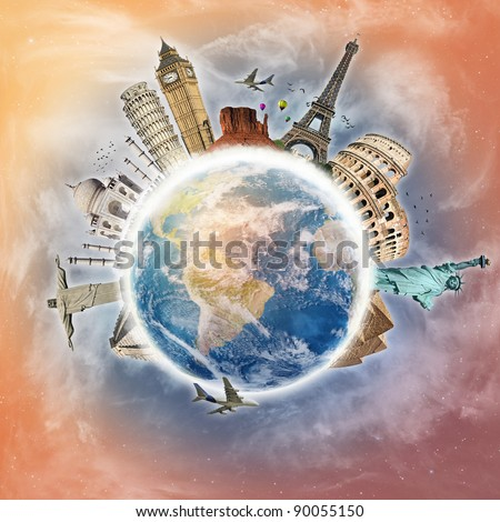 Travel the world clouds concept - stock photo