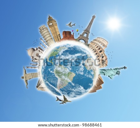Travel the world monument concept blue sky - stock photo