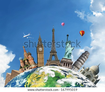 Travel. The world monument concept. Extremely detailed image including elements furnished by NASA. - stock photo