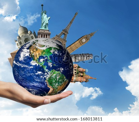 Travel. The world monument concept.  furnished by NASA. - stock photo