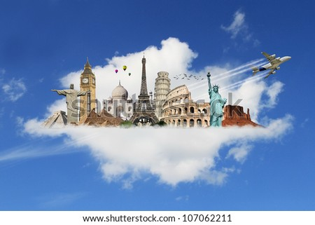 Travel the world monuments clouds concept - stock photo