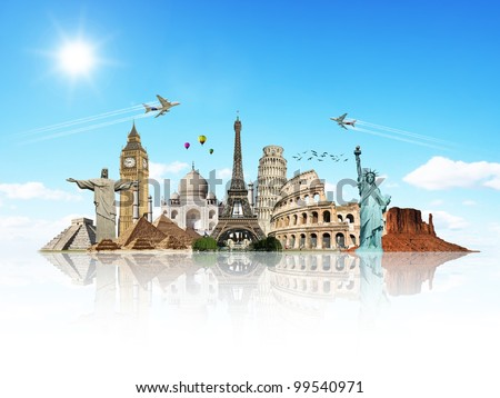 Travel the world monuments concept reflection - stock photo