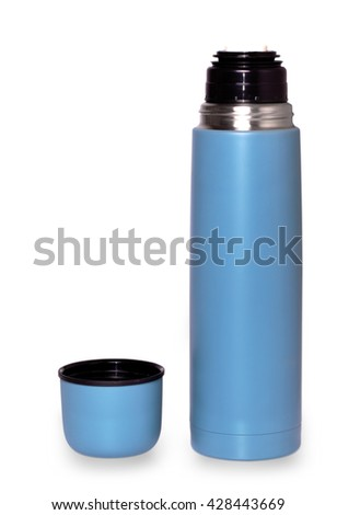 travel thermos for hot drinks on white background - stock photo